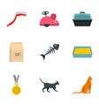 cat things icons set cartoon style vector image