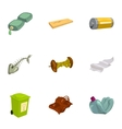 Garbage sorting icons set cartoon style vector image