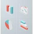 Isometric column chart icon vector image