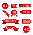 red ribbon sale banner vector image