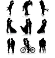 Romantic couples silhouettes vector image