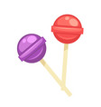 sweet tasty round lollipops on wooden sticks vector image