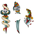 tattoo daggers vector image