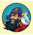 Happy pirate with a parrot on his shoulder vector image