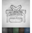gift card in box icon Hand drawn vector image