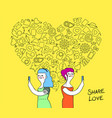 women couple internet love concept vector image