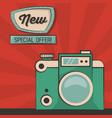 vintage green camera special offer poster vector image