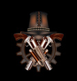 Two steampunk revolvers and hat vector image vector image