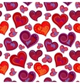 Valentines day artistic hand drawn colorful hearts vector image