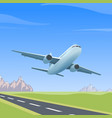 airplane over the runway vector image