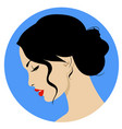 beautiful woman with retro hairstyle and nice vector image