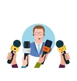 Businessman giving interview vector image