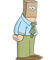 Cartoon man with a paper bag on his head vector image