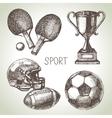 Hand drawn sports set Sketch sport balls vector image