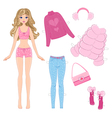 paper doll with clothes vector image