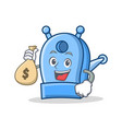 with money bag pencil sharpener character cartoon vector image
