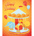 Birthday card carousel with animals vector image vector image