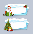 cartoon realistic winter banner set vector image