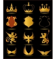 Collection heraldic gold elements on black vector image
