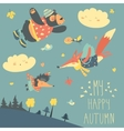 Cute animals and autumn leaves flying in the sky vector image