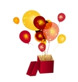 gift box with baloons vector image