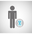 silhouette man with dna molecule science graphic vector image