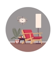 Retro interior with a divan standing lamp vector image