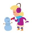Christmas kid playing winter games vector image