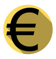 euro sign  flat black icon with flat vector image