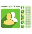 Patients Icon and Medical Longshadow Icon Set vector image