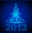blue christmas tree twenty-thirteen broken glass vector image