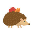 cute hedgehog with apple and leaf on thorns icon vector image