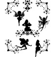 five fairys and floral corners vector image