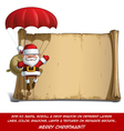 Happy Santa Scroll Parachute Sack of Gifts vector image
