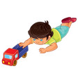little boy lies on his stomach and rolls a vector image