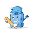 playing baseball pencil sharpener character vector image
