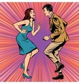 Retro man and woman dancing pop art vector image