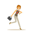 smiling young woman character running to work vector image