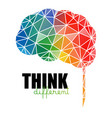 think different concept low poly colorful brain vector image
