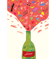 Concept wine bottle - fun and joy for girls vector image