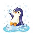 penguin on an ice floe floats on the sea vector image