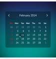 Calendar page for February 2014 vector image vector image
