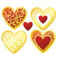 Heart floral golden Vector Image