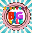 Big Sale Retro Background with Label and Flags vector image