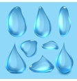 blue Realistic Water Drops vector image