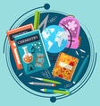 Composition on the theme of school with books vector image
