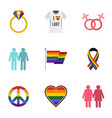 gays and lesbians icons set flat style vector image