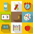 schooling icon set flat style vector image