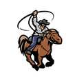 cowboy with a lasso on a horse vector image