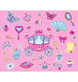 Cute princess sticker set with carriage vector image vector image